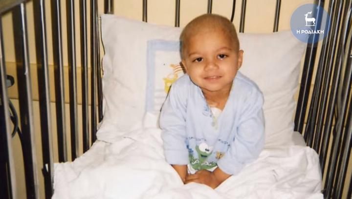 Ο μικρός Μιχάλης στην ηλικία  των 3,5 ετών,  αμέσως μετά τις χημειοθεραπείες, έχοντας χάσει  τα μαλλιά του