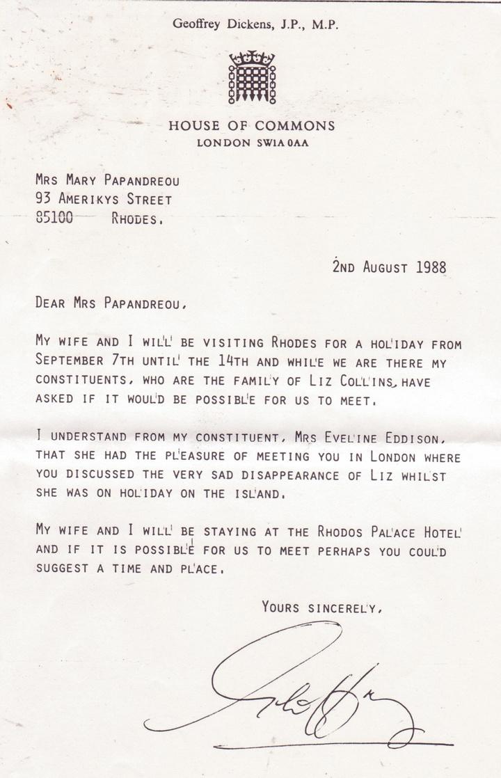 Η επιστολή του Geoffrey Dickens, πριν έρθει στη Ρόδο. Γίναμε στενοί φίλοι. Πραγματικά αξιαγάπητοι.