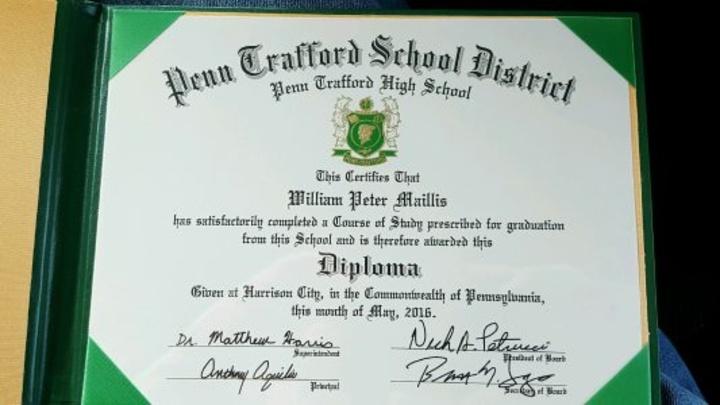 Το δίπλωμα αποφοίτησης του Ουίλιαμ Μαΐλλη