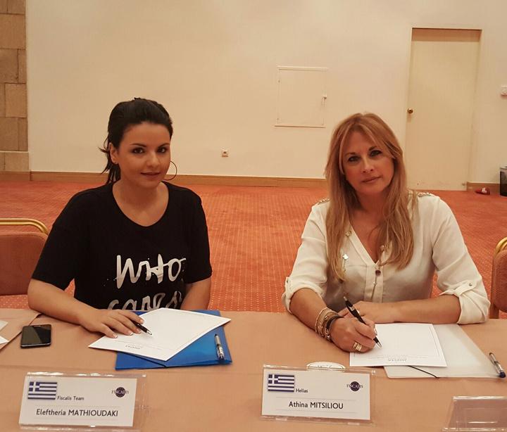 Οι ελληνίδες εκπρόσωποί μας στο συνέδριο, Αθηνά Μητσίλιου και Ελευθερία  Μαθιουδάκη που ανέλαβαν την εντυπωσιακή αυτή διοργάνωση