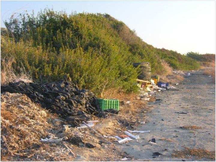 Εικόνα 2  Σκουπίδια στην άκρη αγροτικού  δρόμου