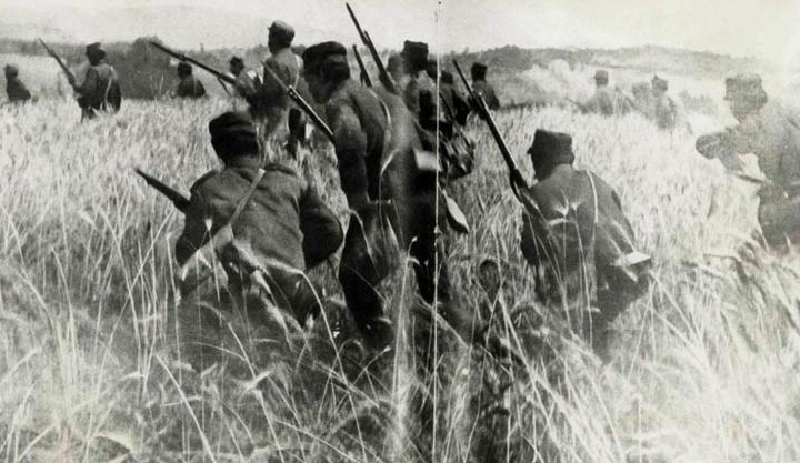 Έφοδος ελληνικής διμοιρίας με εφ' όπλου λόγχη, κατά των  βουλγαρικών θέσεων, στη μάχη του Κιλκίς 1913