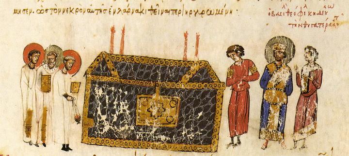Μικρογραφία σε χειρόγραφο. Αναπαράσταση τάφου στη Λάρνακα.  (Σύνοψις Ιστοριών Ιωάννου Σκυλίτζη, Ισπανία, Μαδρίτη, Εθνική Βιβλιοθήκη)