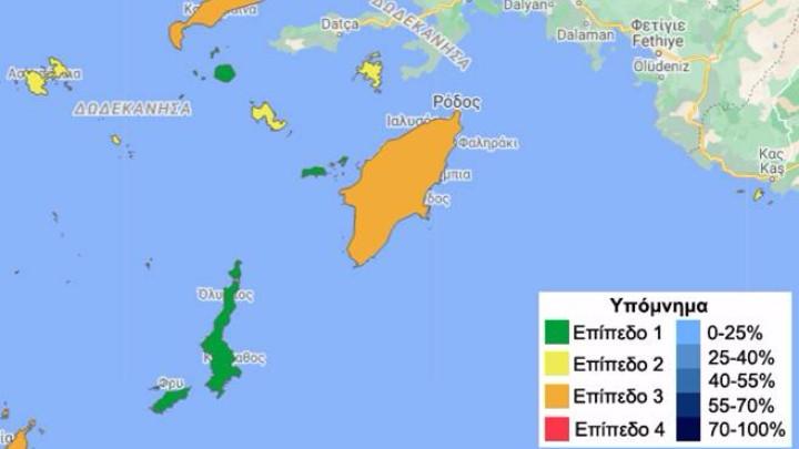 kolory na mapie epidemiologicznej Dodekanezu